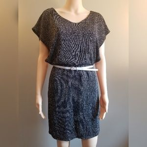 Black and Metallic Knit Belted Dress Womens Small